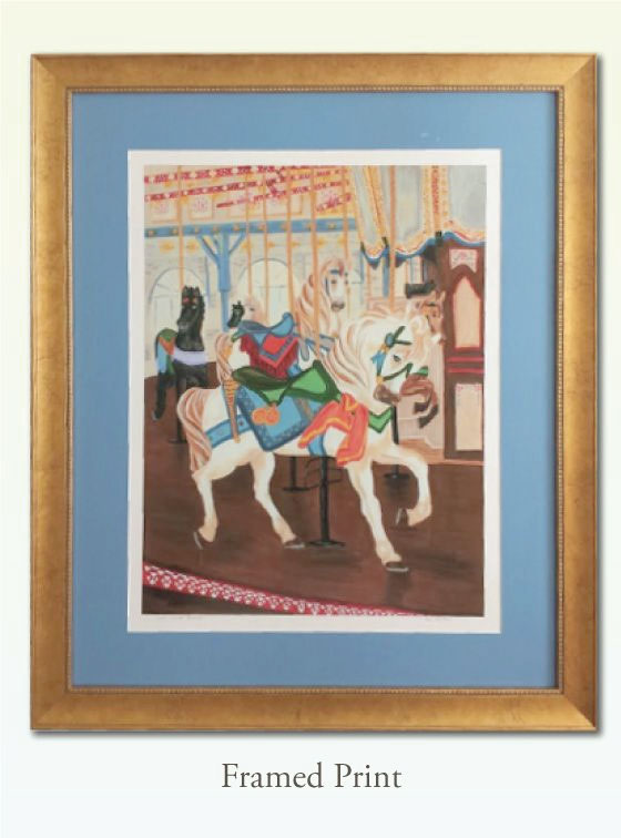Santa Monica Carousel, Giclee Print - Val Walton Art
