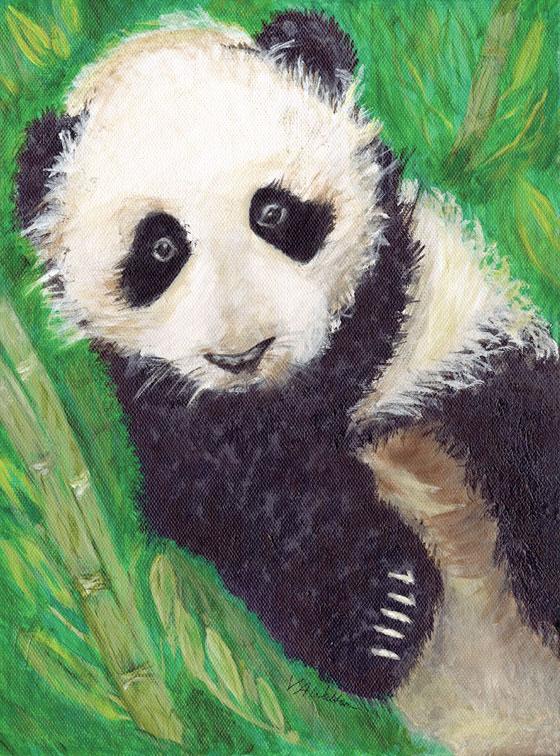 Panda Peace Framed Original - Val Walton Art