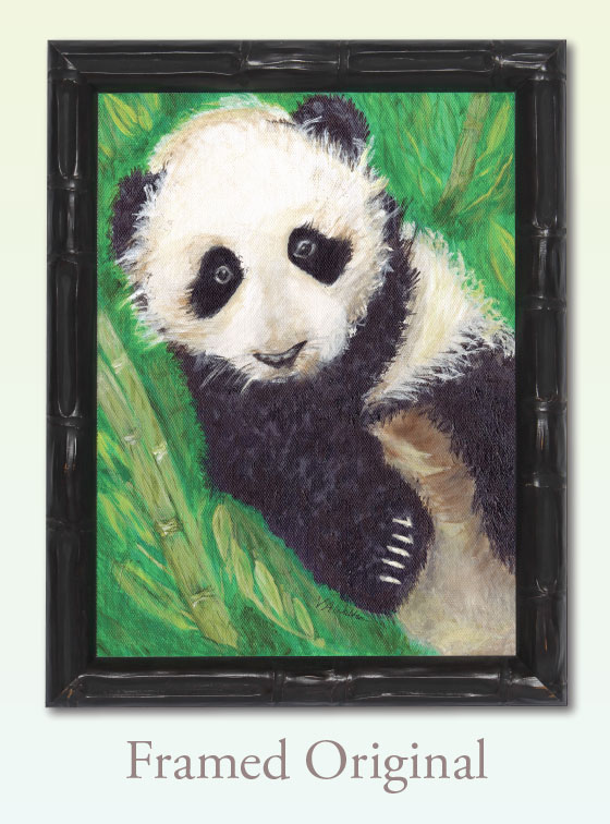 Panda Peace Framed Original - Val Walton Art