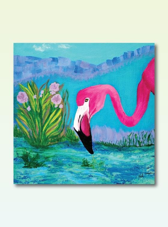 Flamingo Drinking - Val Walton Delaware Artist