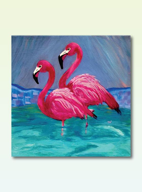 Flamingo Duet - Val Walton Delaware Artist