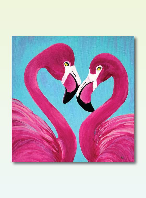 Flamingo Hearts - Val Walton Delaware Artist