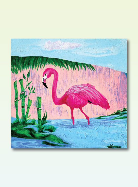 Flamingo with Bamboo - Val Walton Delaware Artist