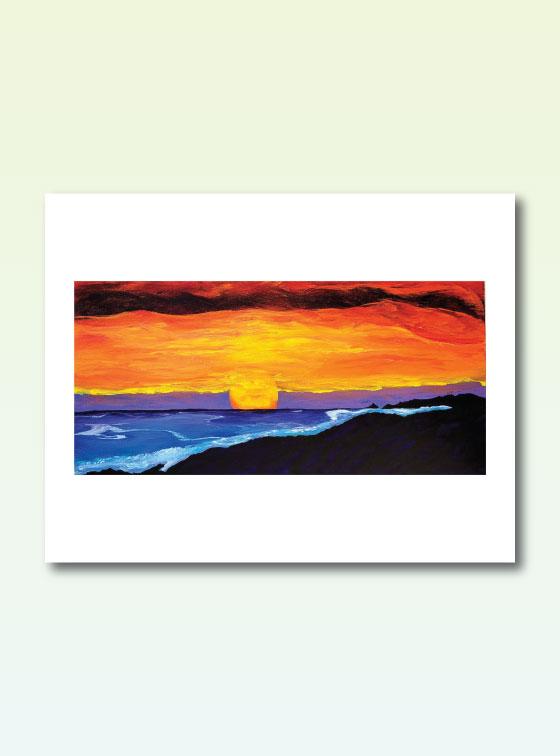Orange Sunset 202 - Val Walton Art - Delaware Artist