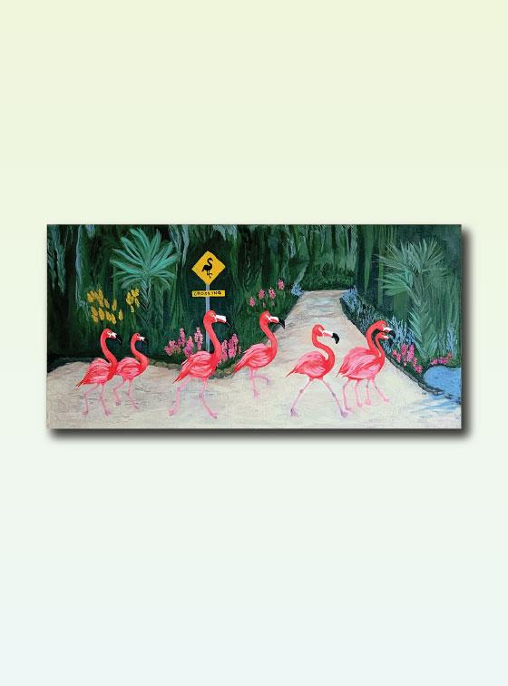 Flamingo Crossing - Val Walton Art